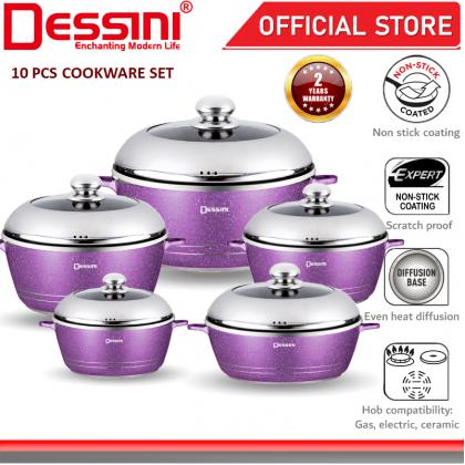 DESSINI ITALY Granite Aluminium Non Stick Casserole Pot Bowl Deep Fry Pan Cookware Tool (10 Pcs)