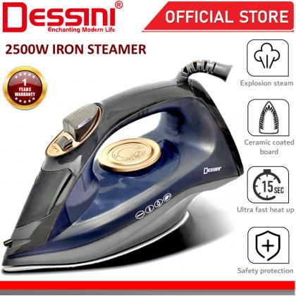 DESSINI ITALY 2500W Electric Ceramic Soleplate Garment Steam Iron Sprayer Steamer Clothes Brush / Seterika Baju