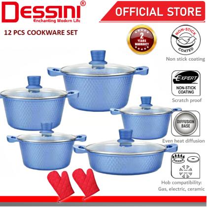 DESSINI ITALY Granite Aluminium Non Stick Casserole Pot Bowl Deep Fry Pan Cookware Tool (12 Pcs)