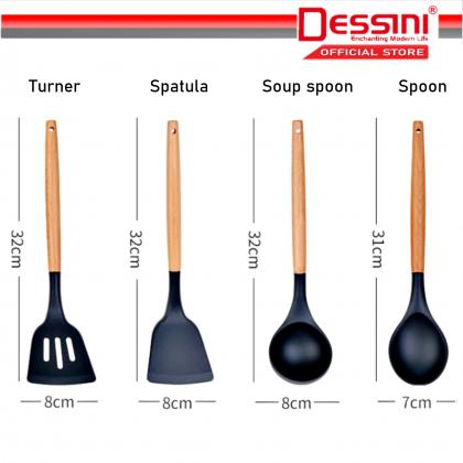 DESSINI ITALY Silicone Utensil Heat Resistance Kitchenware Spatula Soup Spoon Kitchen Tool Penyepit Senduk (12 Pcs)